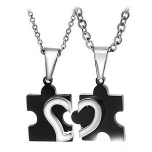 로맨틱 2015 신사 숙녀 커플 연인 스테인레스 스틸 러브 하트 퍼즐 목걸이 펜던트 연인을위한 무료 배송