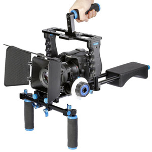 Freeshiping Profesyonel DSLR Rig Omuz Video Kamera Sabitleyici Destek Kafes / Mat Kutu / Canon Nikon Sony Kamera Kamera Için Odak Izle