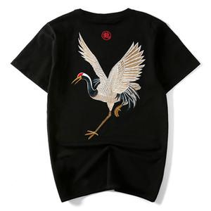Verano nueva marea de la marca de estilo chino retro viento nacional de algodón de manga mitad grúa de bordado de manga corta T-shirt masculino flojo