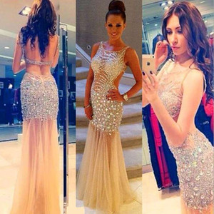 2015 venda quente sereia longa o-pescoço tulle vestidos de festa sexy backless frisado frisado vestidos de baile vestidos de baile