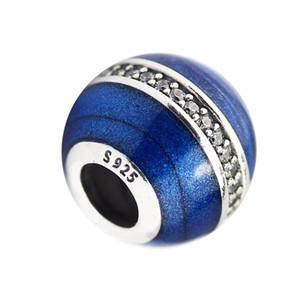 I nuovi 925 fascini autentici sterlina rotonda d'argento Perline di cristallo blu dello smalto misura i braccialetti Diy Fine Jewelry realizzazione di accessori