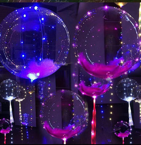 20 Inch Luminous Led Balloon 3M LED Air Balloon String Lights Round Bubble Helium Balloons Kids Toy Wedding Party Decoration
