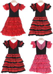 Meninas do bebê Vestir Material de Poliéster Bebê Menina flamenco Vestidos de Três Cores e Alta Qualidade Espanhol dança flamenca vestido PT004
