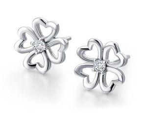 2015 bijoux de mode boucles d'oreilles en argent sterling 925 avec cristal blanc classique bâton boucle d'oreille shinning forme de fleur pour les femmes