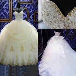 Abiti da sposa caldi vintage Ball Gown Sweetheart Ricamo Lace Beads Perle Abito da sposa lungo Cappella treno con fiocco Abiti da sposa formale