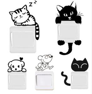 DIY 재미 있은 귀여운 검은 고양이 개 쥐 마우스 소녀 스위치 데 칼 벽에 스티커 홈 Decals 침실 어린이 방 조명 병 장식