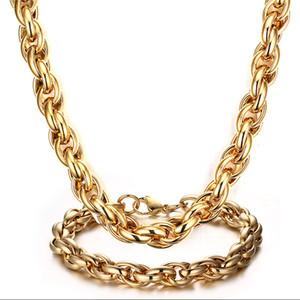 Énorme style de fête des hommes lourds populaire bijoux en acier inoxydable de charme de haute qualité 24 k or corde lien chaîne collier + bracelet ensemble de bijoux