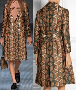 Double Breasted Women Coat Fashion Plaid Gird Print Long Trench 15114422