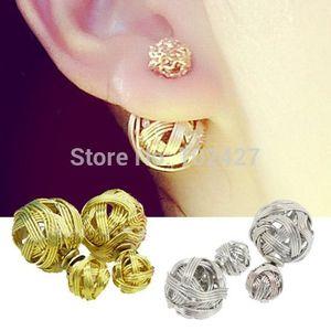 Nouveau mode double côtés perle boucle d'oreille deux ball boucles d'oreilles plaqué or perles bijoux pour femmes cadeau de noël