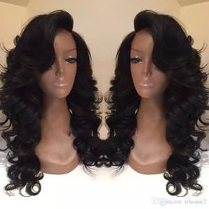 Стиль знаменитости синтетические парики свободная объемная волна парик волос натуральный черный 1B цвет с боковой челкой pelucas черные женщины полные парики