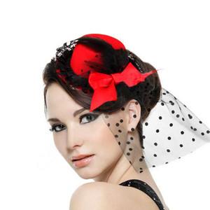 Mode Party Cocktail Femmes Noir Bow plume cheveux clip Mini Top Hat Fascinator
