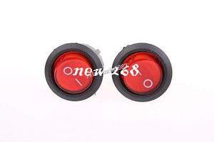 100 Pcs SPST Red Neon Light On Off Round Rocker Switch AC 6A 250V 10A 125V
