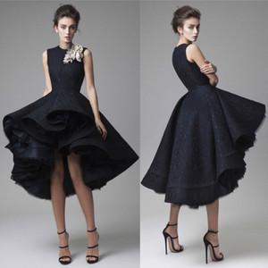 Krikor Jabotian vestidos de baile flor hecha a mano joya cuello oscuro azul marino vestido de noche longitud de la rodilla vestido de fiesta vestido de bola sin mangas vestido formal