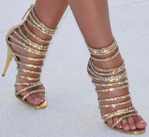 Yaz Deri Strappy Cut Çıkışları Bayanlar Sandalet Çizmeler Yaz Bling Rhinestone Encrusted Ayak Bileği Yüksek Kısa Botlar Fermuar Ince Topuk Serin Pompaları