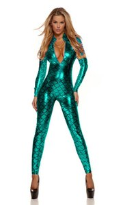 Sexy Ninimour Green catsuit Metallic Fish Scales Costume da sirena Fetish Catsuit Body Vinly Pelle all'ingrosso 207995B