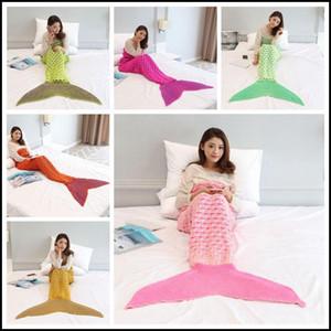 6 colores 195 * 95 cm Nueva llegada Mermaid Mantas de ganchillo Mermaid Tail Manta Adultos hilo de dormir de punto mantas de sirena CCA8366 5pcs