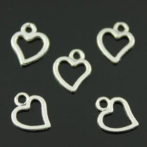 600pcs lot 10*8mm antique silver color zinc alloy tiny hollow heart charm DIY for handmade