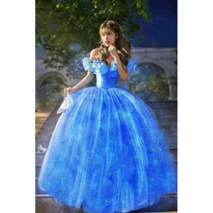 Al por mayor-2015 Nueva película Scarlett Sandy Princess Dress azul Cinderella Costume Adult girls