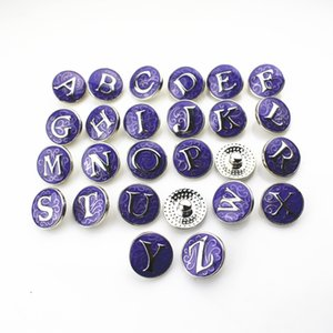 Hot selling 26pcs lot Purple Alphabet A-Z Letters Snap Buttons For 18mm Snap Necklace Bracelet&Bangles DIY Snap Jewelry pendant Charms