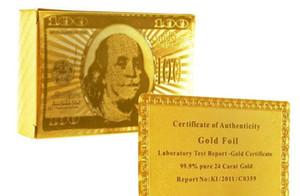 Os recém-chegados 100 jogos / lote folha de ouro banhado jogando cartas de Poker De Plástico EUA dólar / Euro Estilo e Estilo geral Com Certificado