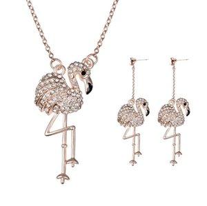 Collier en cristal autrichien boucles d'oreilles ensembles de bijoux date 18KGP Swan femmes ensembles de bijoux Charme Party Jewelry Set