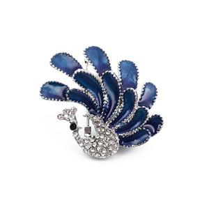 Les femmes strass Zircon Broche bleu paon 4 * 3.5cm Femmes Filles Costume Peacock animaux épinglette Corsage Accessoires Bijoux