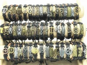 Braccialetti del polsino del cuoio del metallo di stile di miscela di modo per i regali dei gioielli delle donne degli uomini (colore: Dimensione nera regolabile)