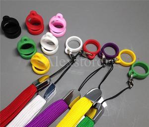 Silicone lanyard O-rings ego Collar de orejas de silicona collares o ring clips lanyard para e cig visión spinner ego evod batería vape pluma DHL