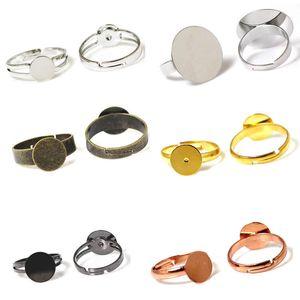Beadsnice modeschmuck komponenten pad diy ring blank findings einstellbar messing ring basis klebstoff auf cabochon für handgemachte ID 32247
