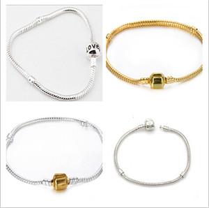 925 plata la pulsera de la cadena de serpiente de 3 MM Fit European Bead Gold / silver 14/15/16/17/18/19/20/21/22 / 23cm 30pcs