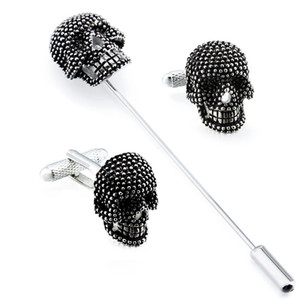 Trendy Skull Designer Cufflinks Studs Set Mens White Tuxedo Shirt Jewelry Accessories Party Best Gift Black Enamel Cuff links