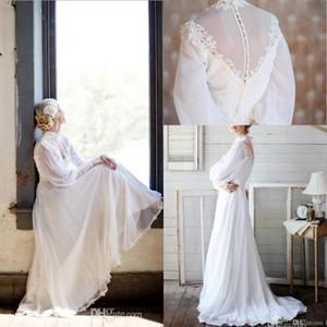 2019 robes de mariée manches longues gracieuses délicates robes musulmanes col haut appliques manches longues en mousseline de soie une ligne de balayage robes de mariage de plage