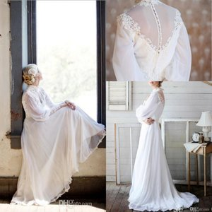 2019 Graceful Long Sleeves Brautkleider Delicated Muslim Kleider High Neck Applique Long Sleeves Chiffon A-Line Sweep Beach Brautkleider