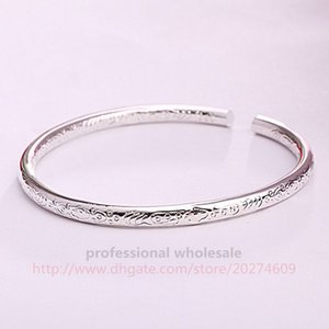 Hottest Style Jewelry High Quality Wholesale Christmas Gift Silver Bohemia Silver Plated Bracelet Alloy Carved Bangle For Woman