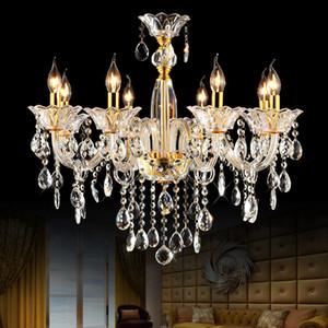 Quarto moderno lustre de vidro do teto do quarto lustre 8 luzes de luxo lustre de cristal sala de jantar 8 ramos lustres de cozinha