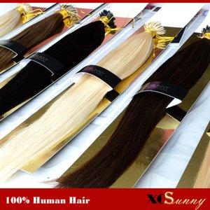"XCSUNNY 18 ""20"" Nano Bead Наращивание волос Индийский Реми 100S Прямой% 100 Индийский Реми Nano Ring Наращивание волос + 100 шариков"
