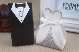 شحن مجاني + جديد زفاف العروس والعريس مربع صناديق لصالح صناديق عرس الحسنات ، 50pairs = 100pcs / lot