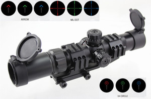 Aimsports Scope 1.5-4X30 Tri-Illuminated Mil Dot Reticle or Arrow or 3 4 Circle Scope with Locking Turrets