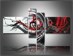 Multi pièce combinaison 4 pcs / ensemble Toile Art Abstraite Peinture à l'huile Noir Blanc et Rouge Décoration Murale peints à la main Photos décoration de La Maison