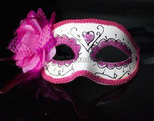 Hot Sale Painted Face Masquerade Masks 할로윈 파티 장식 아이 마스크 인공 꽃 깃털 패션쇼 메이크업 컬러 혼합