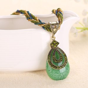 Nuovo pendente della collana della Boemia di arrivo di stile nazionale Dolce dolce Retro collana pendente geometrico blu turchese LC-0017