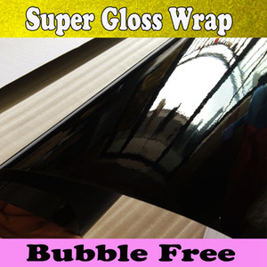 3 couches lossy en vinyle noir Wrap voiture Wrap Air Bubble brillant en vinyle noir piano laqué noir brillant wrap voiture couvrant 1.52x30m / rouleau 5x98ft