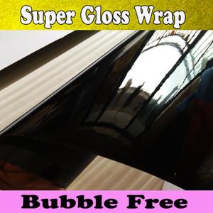 3 capas con pérdida Negro del abrigo del vinilo del abrigo del coche de burbujas de aire brillante Negro Piano vinilo negro brillante abrigo del coche cubren 1.52x30m / rollo 5x98ft