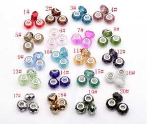 Hotl ! 100pcs Faceted Crystal Glass Big Hole Beads Fit Charm Bracelets 20 - color