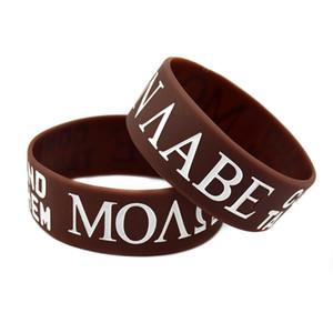 50PCS Brown 1 pouce de large Molon Labe Venez et prenez-les en caoutchouc de silicone Wristband pour la promotion de cadeau