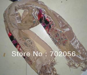 Mariposa de cuentas de terciopelo de seda Burn Out Duster Opera chal bufanda abrigo Ponchos 6pcs / lot # 2074