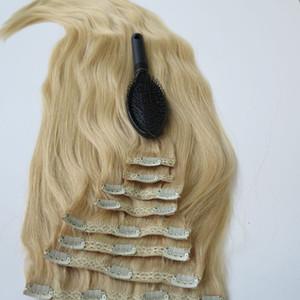 280г 20 22-дюймовый клип в расширениях человеческих волос бразильские волосы 613#/Bleach блондинка Реми прямые волосы ткет 8шт/комплект бесплатная расческа