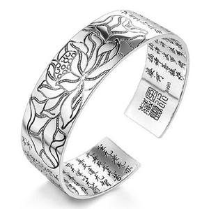 Loto Tibetano Cuore Sutra Bangle 990 Bracciale in argento sterling Braccialetti Parole del Buddha Scritture Scritture Donne Uomini Gioielli mano loto