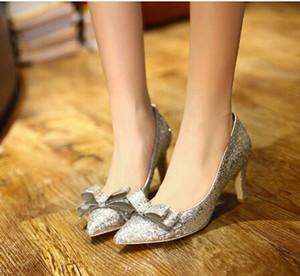 Yeni Kadın Süper Kitten Topuk 7cm Sivri Burun Gümüş / Altın Ayakkabı Pullu Düğün Ayakkabıları