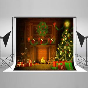 Fondali di fotografia di fondali di fotografia di fondali di Natale di camino di Freeshipping di Natale Sfondo di lavabile di Photobooth del calzino della scatola degli alberi di Natale